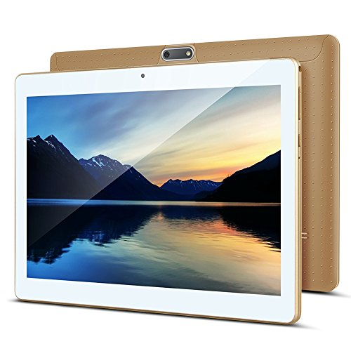 Tablet 10 Zoll Android 8.0, Padgene Android Tablet PC 10,1 Zoll Quad Core IPS HD Pad mit 2G RAM 32G Speicher Dual SIM Slots Dual Kamera WiFi/3G Entsperrt Bluetooth 4,0 GPS Handyfunktion(Gold)