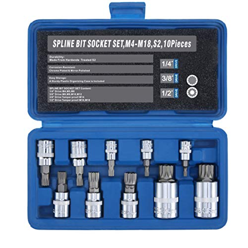 Renekton Triple Square Spline Bit Socket Set XZN,Tamper Proof,1/2' 3/8' 1/4' Drive,M4 - M18,S2 Steel,10 Pieces