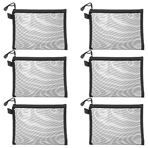 15pcs Mesh Zipper Puntes Borse organizzatori di viaggio A5 Zipper File Bags (Color : Black)