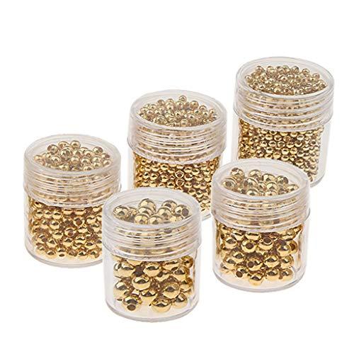5 Flaschen Charms rund Metall Spacer Perle Zwischenperlen Metallperlen Für Halskette, Armbänder, Fußkettchen - Gold