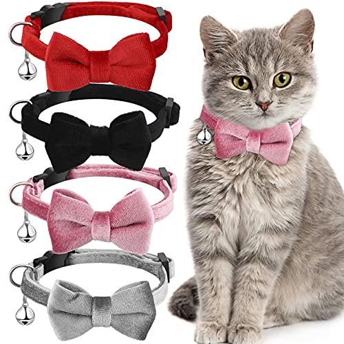 Katzenhalsbänder mit Glöckchen und Fliege, bequemes Samt-Katzenhalsband mit niedlicher Sicherheitsschnalle, einfarbig, für Haustiere, Kätzchen, Katzen, Welpen (Schwarz, Rot, Grau, Rosa), 4 Stück