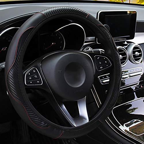 panthem Funda para volante de coche, piel transpirable, antideslizante, banda elástica deportiva de fibra de carbono sin cubierta de rueda de anillo interior, tamaño universal 37-39 cm (negro)