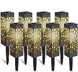 Lámparas Solares para Jardín,8 Piezas Solares Exterior Decorativas Farolillos Solar Pantalla Impermeable IP65, Solares Exterior Iluminación de Caminos Luz Solar para Césped, Piscina, Patio