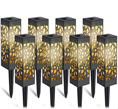 Solarleuchte Garten-8 Stück LED Solar Laterne Gartenleuchte Bahn Lichter Außenleuchte Wasserdicht IP65, Solar Lampen Lichteffekt Dekoration Licht für Terrasse Rasen Garten Hinterhöfe Wege (Warmweiße)