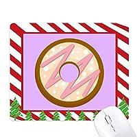 ピンクのドーナツのデザートの甘い食べ物 ゴムクリスマスキャンディマウスパッド