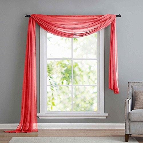 Querbehang Freihanddeko aus transparentem Voile, die ideale Ergänzung zu unseren Gardinen, 140x600, Rot, 560