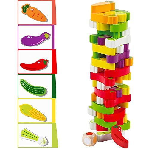 Arkmiido Torre de Bloques de Madera de Juego de Torre Modelo Vegetal, Juguetes de...