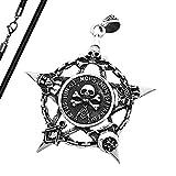 Anhänger Freimaurer Totenkopf Pentagramm Stern Edelstahl Halskette Lederkette Kugelkette Masonic Gothic Damen Herren anhänger-lederkette