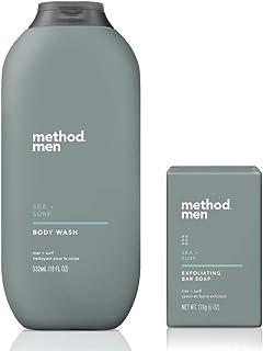 Method Men's - Sea + Surf Body Wash 18 Ounce & Sea + Surf Exfoliating Bar Soap, 6 oz - Set of 2