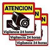 Pack 3 carteles rígidos alarma atención vigilancia 24 horas Kit varios carteles alarma cámara de vigilancia Cartel rígido disuasorio seguridad vigilancia