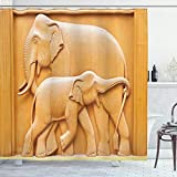 Ambesonne Retro Shower Curtain, Carved Wooden Mother Elephants Animals Design, Cloth Fabric Bathroom Decor Set with Hooks, 70' Long, Mustard Apricot