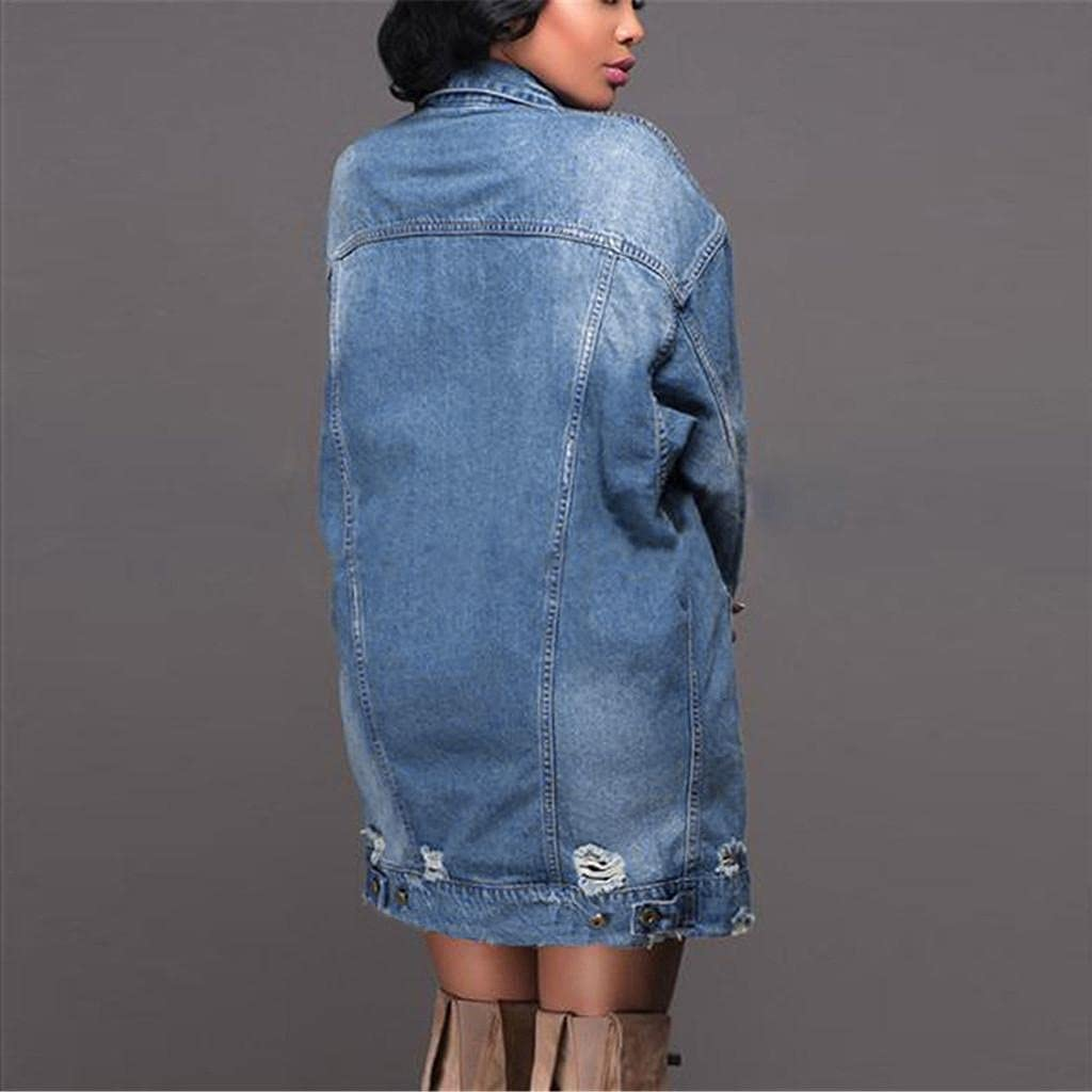 Women Trench Denim Coats Casual Long Sleeve Distressed Hole Midi Long Jean Jacket Outerwear for Autumn Winter