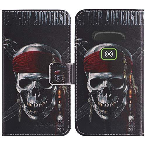 TienJueShi Totenkopf Flip Stand Brief Leder Tasche Schütz Hülle Handy Hülle Für Doro Secure 580IUP Abdeckung Fall Wallet Cover Etüi