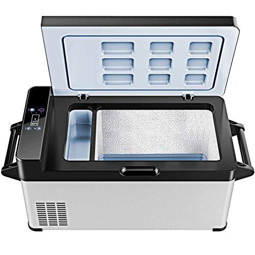 Nevera Portátil 37 litros Refrigerador del Congelador del Coche del Compresor, Frigorífico de Doble Cámara AC/DC, con Protección de Bajo Voltaje y Pantalla Digital