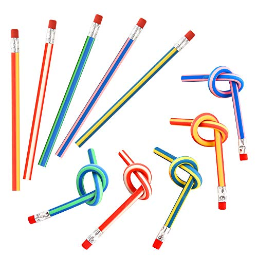 FEPITO 20 Pcs Soft Flexible Bendy Pencils Eraser Magic Bend Toys School Stationary Equipment for Kids Party Bag Fillers Party Favor Supplies Funny Gift Idea, Multicolored