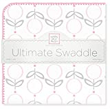 SwaddleDesigns Ultimate Winter Swaddle, X-Large Receiving Blanket, Made in USA, Premium Cotton Flannel, Pink Lolli Fleur (Mom's Choice Award Winner)