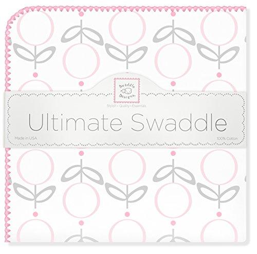 SwaddleDesigns Ultimate Couverture Emmailotage, Flanelle de Coton de première qualité, Lolli Fleur, Rose