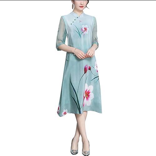 768edcff6 HÖTER Womens Spring Autumn Folk Style Printed Floral Vintage Cheongsam Plus  Size Cotton Jacket(M