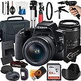 Canon EOS 250D / Rebel SL3 Digital SLR Camera 24.1MP CMOS Sensor with EF-S 18-55mm Zoom Lens + SanDisk 64GB Card + Tripod + Case + MegaAccessory Bundle (21pc Bundle)