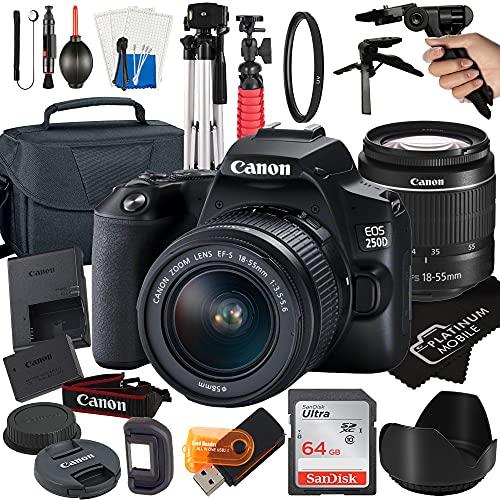 Canon EOS 250D / Rebel SL3 Digital SLR Camera 24.1MP CMOS Sensor with EF-S 18-55mm Zoom Lens + SanDisk 64GB Card +...