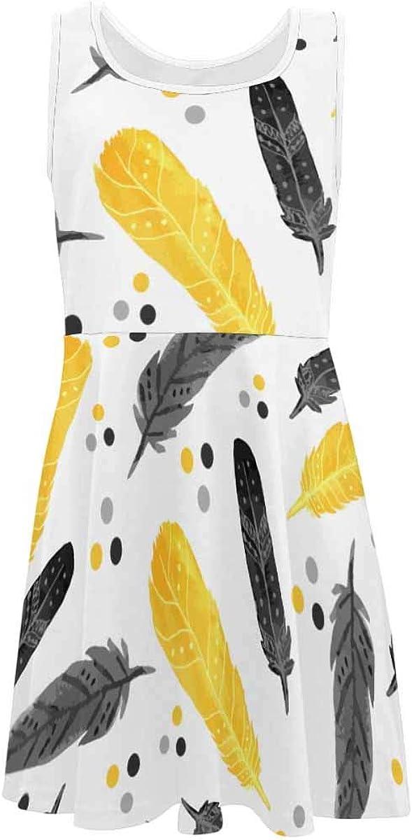InterestPrint Girls Dress Casual Sleeveless Dress Daily Dress Black and Yellow Feathers (2T-XL)