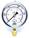 JRA-Longlife Manómetro de glicerina 0-1 bar Conexión diámetro 63, inferior G1/4'