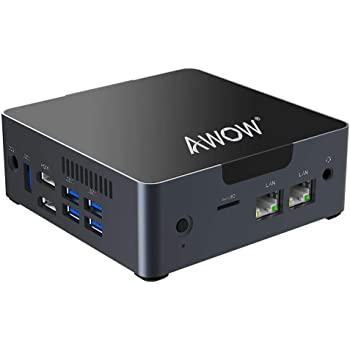 Mini PC AWOW Desktop Computer Intel Celeron N3450 Windows 10 6GB DDR4 128GB SSD/Burst Frequency 2.2/Dual LAN/ 2.4G+5G Dual Band WiFi/4K /Bluetooth/HDMI/5 USB3.0 Ports Micro PC