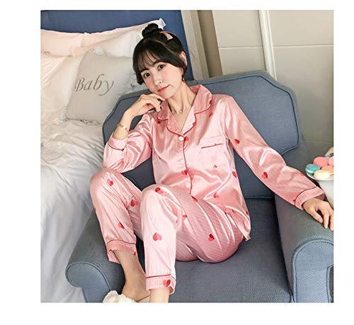 XUHRA pyjama voor de zomer, 2019, voor dames, herfst, bloemdruk, faux, tweedelig, blouse, broek, nachthemd