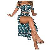 VEMOW Vestido Mujer Elegante Sin Hombros Dos Piezas, 2021 Cintura Alta Novia Bodas Vestidos Largos De Fiesta Noche Cóctel Falda Dulce Sin Tirantes Maxi Dress Casual Fiesta Playa Verano(B Verde,M)