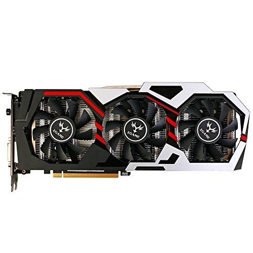 KKmoon Colorful NVIDIA GeForce GTX iGame 1070 GPU 8 GB 256-Bit-Gaming-GDDR5 PCI-E X16 3,0 VR-bereit Video-Grafikkarte DVI + HDMI + 3 * DP-Port mit drei Lüfter
