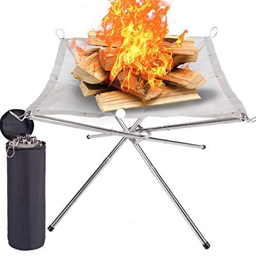 SUCHDECO Tragbare Outdoor-Camping-Feuerstelle, 71 cm, 2021 neues Upgrade, Camping Edelstahl-Mesh-Kamin, Ultra faltbare Feuerstelle für Terrasse, Camping, Grill, Hinterhof und Garten