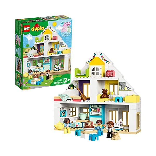 LEGO DUPLO Town Modular Playhouse 10929 Dollhouse with Furniture and a Family, Great...