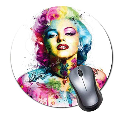Computer Gaming Mouse Pad Non-Slip Rubber Material Round Mouse Mat for Office and Home Laptop Desktop Mousepad (8 Inch) - Marilyn Monroe Colorful Diamond Art