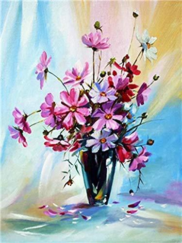 HAO Blumen und weiße Vorhänge malen nach Zahlen Kits DIY Digital Painting Färbung auf Leinwand Ölgemälde von Ihnen selbst handgefertigt 40x50cm Rahmenlos