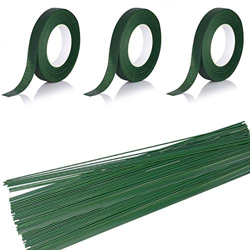BIG FLORAL STEM WIRE GREEN TAPE WRAP FLOWER ARTIFICIAL CRAFT CARD GAUGE 18 x 12