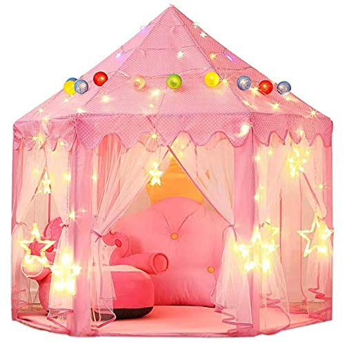 Green Eggplant 140x135cm Extra Large Children Kids Fairy Princess Castle Tents Girls Pink Play Castle Hexagon Playhouse for Indoor/Outdoor Use Foldable with Carry Case