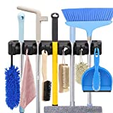 HYRIXDIRECT Mop and Broom Holder Wall Mount Heavy Duty Broom Holder Wall Mounted Broom Organizer Home Garden Garage Storage Rack 5 Position with 6 Hooks (Black)