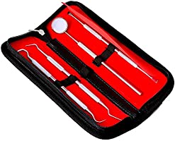 Dental Care Kit for Plaque Removal 4 Piece Tool Set Including Dentist Mirror and Tartar Scrapers and Tooth Picks...