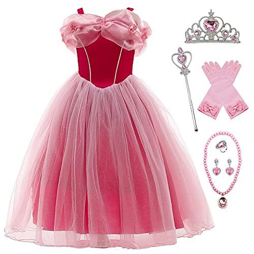 YOSICIL Vestido de Princesa Aurora para Niña con tul disfraz aurora bella durmiente 3-9 años con Organza Floral con 6pcs accesorios, Suave y transpirable