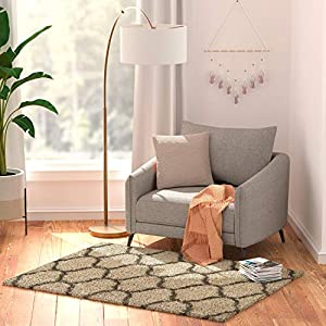 "Amazon Basics Modern Plush Moroccan Trellis Shag Area Rug – 4×6 (3'11"" x 5'3″), Beige"