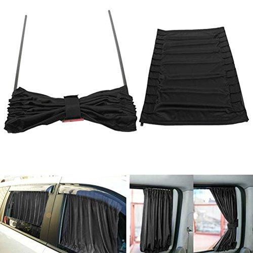 Auto-Sonnenschutz-Vorhänge, 2 Stück, Verdunkelungsvorhänge, Thermo-Isolierung, Auto-Zubehör, blockiert UV-schädliche Strahlen für Seitenfenster, Stoff, Vorhang, Sonnenblende, schwarz