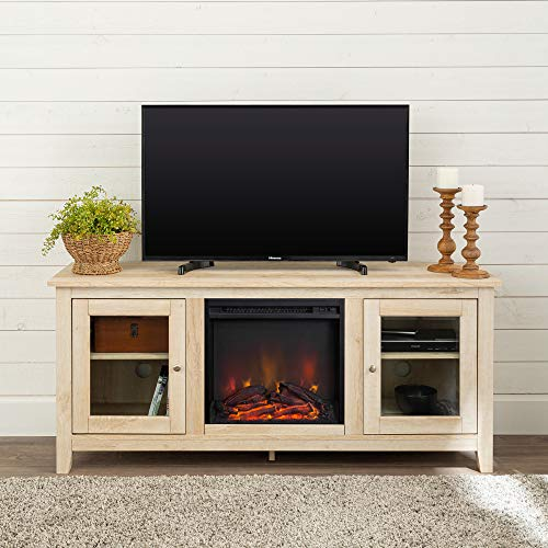 Walker Edison Rustic Wood and Glass Fireplace TV Stand for TV's up to 64' Flat Screen Living Room Storage Cabinet Doors and Shelves Entertainment Center, 58 Inch, White Oak