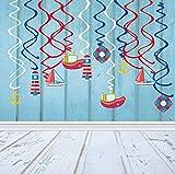 ⚓【DECORACIONES DE LA FIESTA DE NAVEGACIÓN】Decora tu evento de fiesta de cumpleaños de Navegación con estos remolinos colgantes de navegación para crear un gran éxito, lo que hará de tu fiesta de Navegación una celebración que vale la pena recordar. ⚓...
