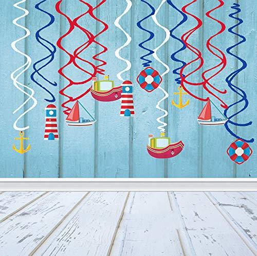 Sayala 30Ct Navegación Crucero Velero Faro Faro Salvavidas Colgando Decoraciones con remolinos   Navegación Artículos de Fiesta de cumpleaños Fan Decoraciones