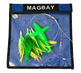 MagBay Lures Tuna Lure Daisy Chain Teaser with Bird - Green Tuna Feathers Rigged Plus Lure Bag