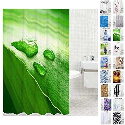 Sanilo Duschvorhang, viele schöne Duschvorhänge zur Auswahl, hochwertige Qualität, inkl. 12 Ringe, wasserdicht, Anti-Schimmel-Effekt (180 x 200 cm, Green Leaf)