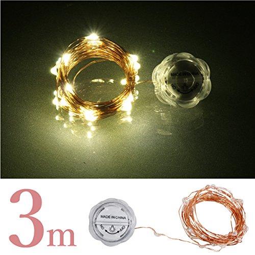 イルミネーション LED ワイヤー シャンパンゴールド 超小型 電池式 3m 30球 防水 銅配線 ジュエリーライト 金_76237
