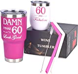 60th Birthday Gifts for Women, 60 and Fabulous Wine Tumbler, 60 and Fabulous Tumbler for Women, 60th Birthday Tumbler Set, 60th Birthday Presents Her, 60th Birthday Gifts Idea