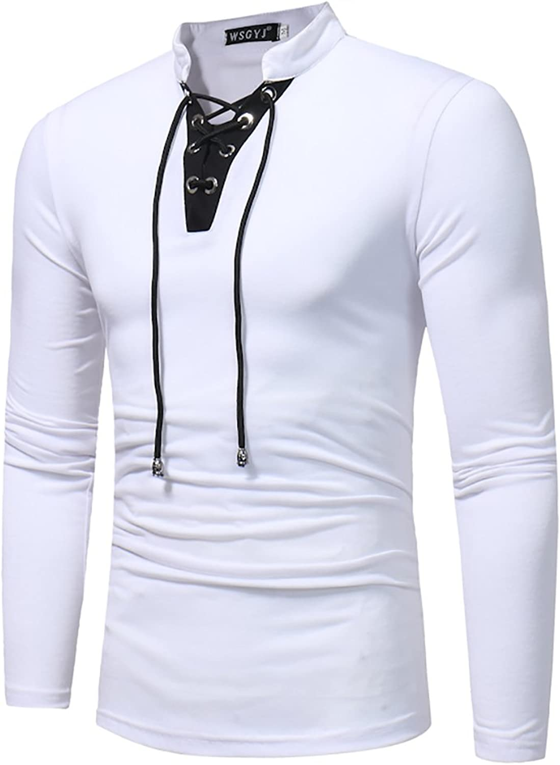 Men's T Shirts LongSleeved Fashion Casual V Neck Drawstring Tie Shirt Solid colord Slim Fit Shirt 2018 New Men's Clothing White, Black, Royal blueee (color   White, Size   2XL)