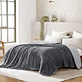 Lynnlov Large 3 Layers Flannel Fleece Bed Blanket Queen Size 90' x 90', Decorative Soft Thick Microfiber Plush Blanket, Luxury Comfy Cozy Velvet Winter Warm Blankets, Washable & Breathable,Grey